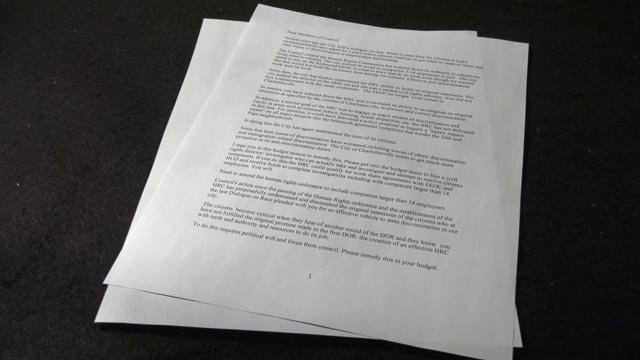 A letter to City Council asks for more resources to the Office of Human Rights