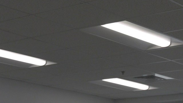 LED lights inside a Baker-Butler Elementary School classroom