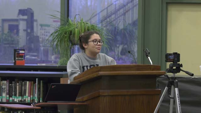 Students and teacher spoke at the meeting on March 1