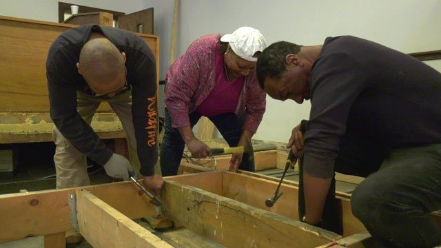 Volunteers at work inside Pilgrim Baptist Church
