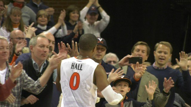 Devon Hall circled the court to high-five fans after his last game at JPJ