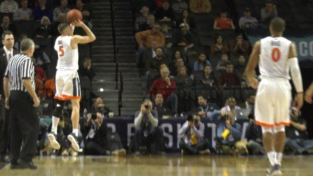 Kyle Guy scored a game-high 19 points while wearing a brace on his left knee