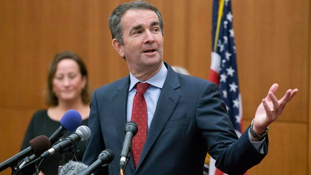 Governor Ralph Northam speaking at a news conference in November 2017 (Image courtesy AP Photo/Steve Helber)