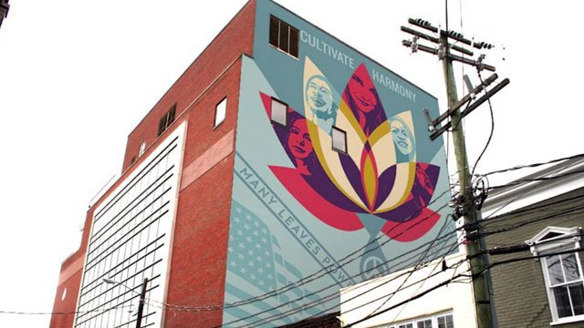 A mock-up of the proposed mural