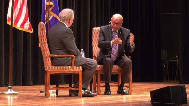 Khizr Khan speaking at the Festival of the Book