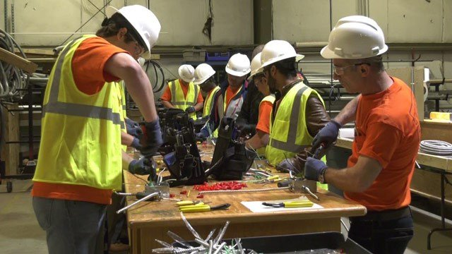 Students learning to be electricians
