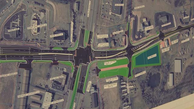 Map of the intersection at routes 29 and 33