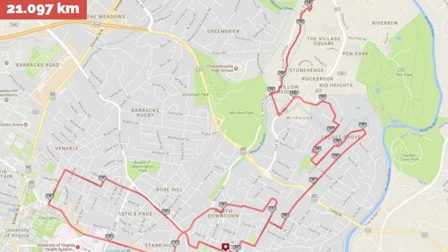 Map of the Charlottesville Marathon