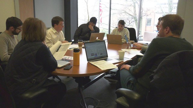 Members of the PLACE Community Engagement Subcommittee meeting with Charlottesville Communications Director Brian Wheeler