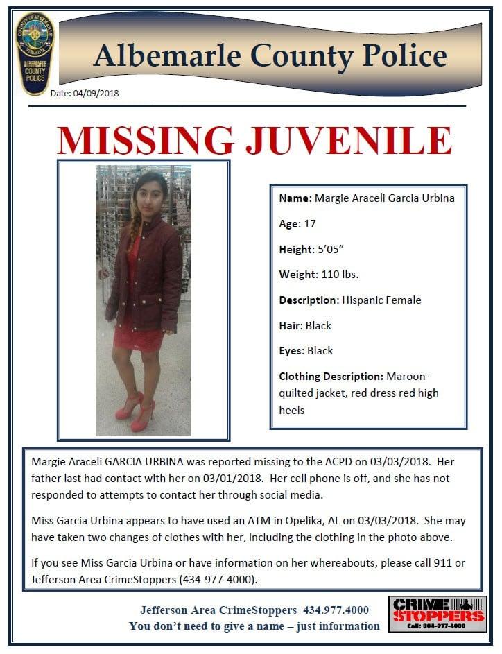 Missing juvenile poster