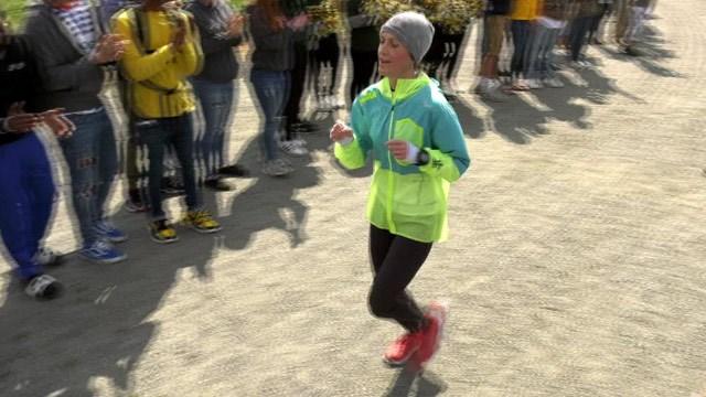 Katharine Fletcher completing her 100-mile run