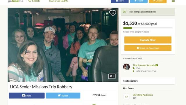 A GoFundMe has been set up to help the student repurchase lost items