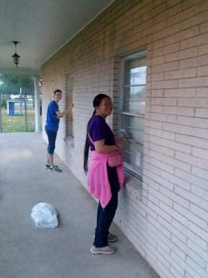 Students cleaned up churches in the area