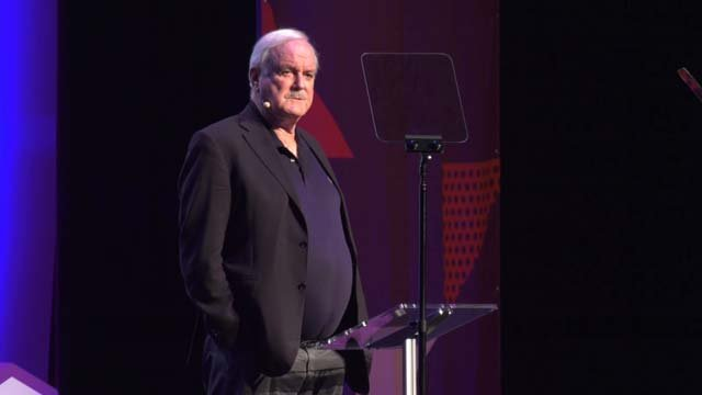 John Cleese spoke at the Paramount on April 11