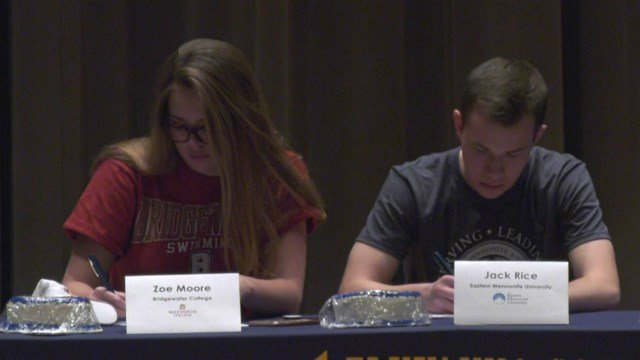 Zoe Moore signed with Bridgewater for swimming, while Jack Rice will run cross country for EMU
