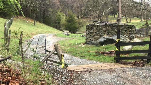 Private road that leads to the scene of a fatal plane crash in Albemarle County