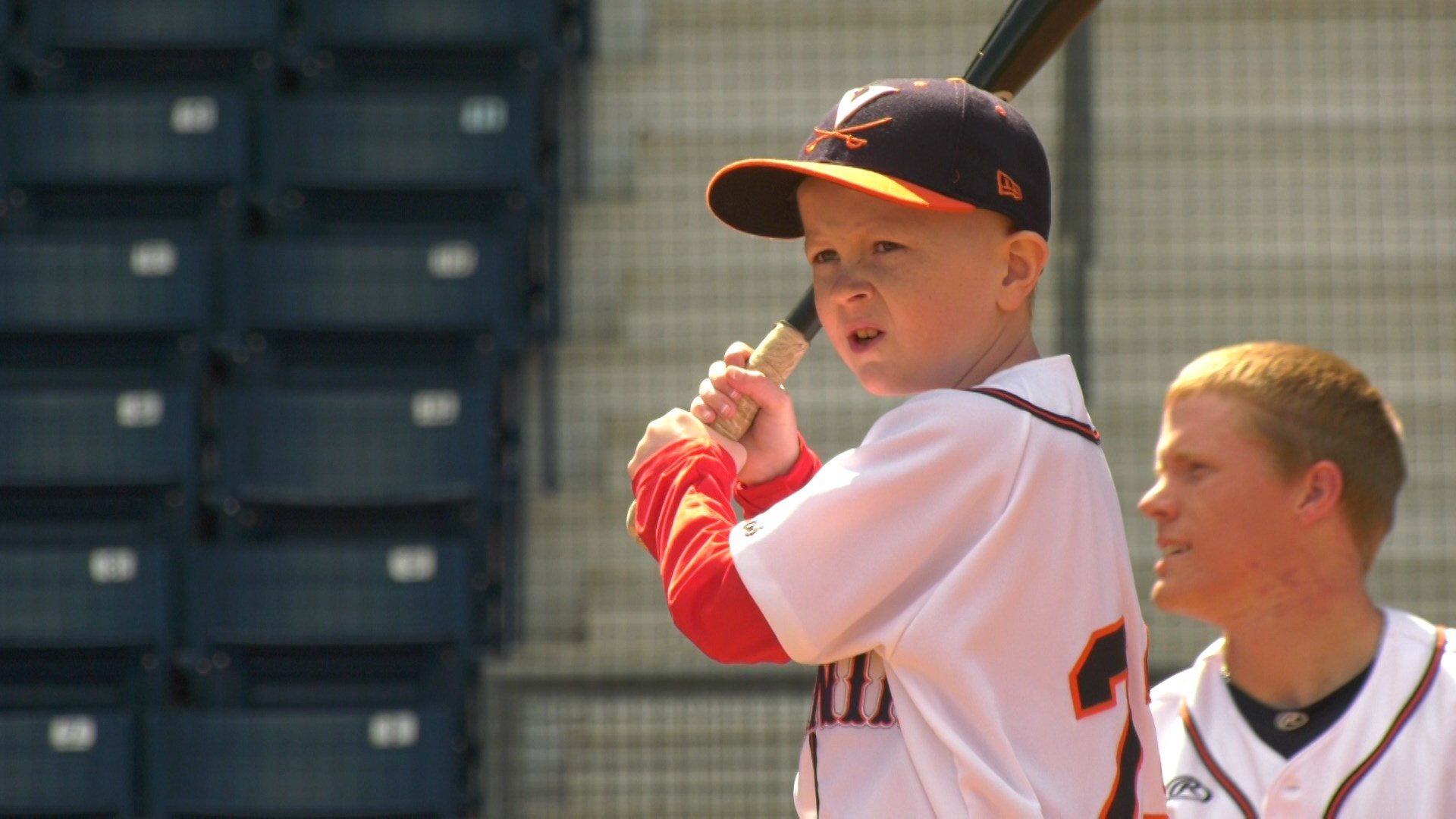 Parker went out on the field with the UVA baseball team to take batting practice Monday