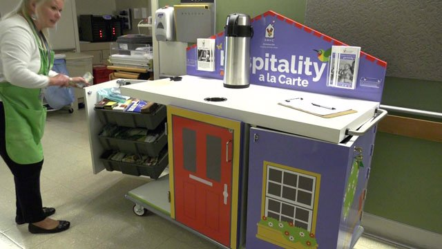 The hospitality cart travels the halls of the UVA Children's Hospital