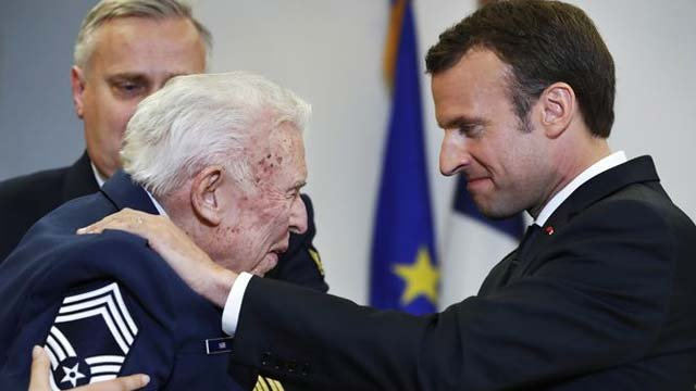Bill Barr received a medal from French President Emmanuel Macron