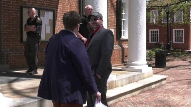 Christopher Cantwell approaching Albemarle Circuit Court (FILE IMAGE)