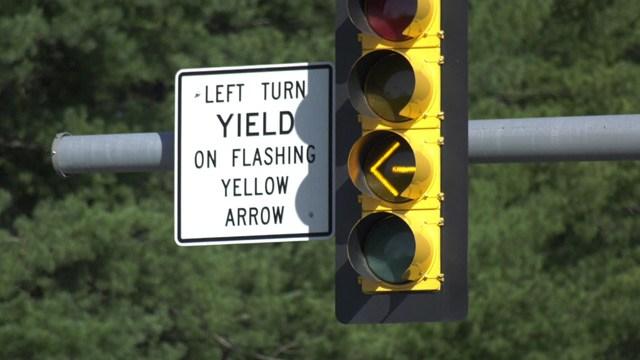 Flashing yellow traffic light in Albemarle County