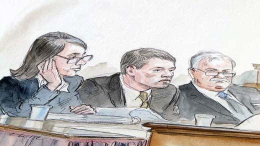 Trial sketch:  Huguely and defense attorneys Rhonda Quagliana and Fran Lawrence