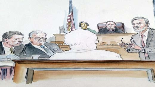 Trial Sketch: Commonwealth's Attorney Dave Chapman interviewing prospective juror.