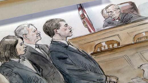 Trial Sketch:  Defense attorneys Rhonda Quagliana and Fran Lawrence, George Huguely and Judge Edward Hogshire.