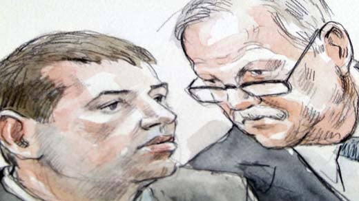 Trial Sketch:  George Huguely and defense attorney Fran Lawrence.