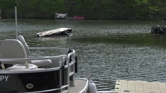 Boats damaged by a fire at Lake Monticello (FILE IMAGE)