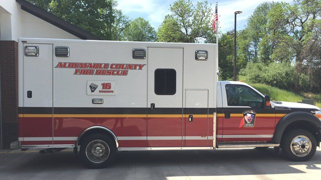 Ambulance at Pantops Station 16 (Photo courtesy Albemarle County)