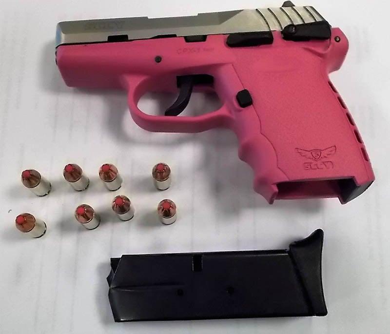 This loaded pink semi-automatic handgun was stopped by TSA officers at RIC on Monday, May 7. (TSA photo)