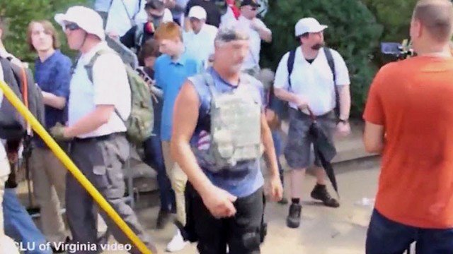 Man believed to be Richard Preston at the Unite the Right Rally (Image courtesy ACLU)