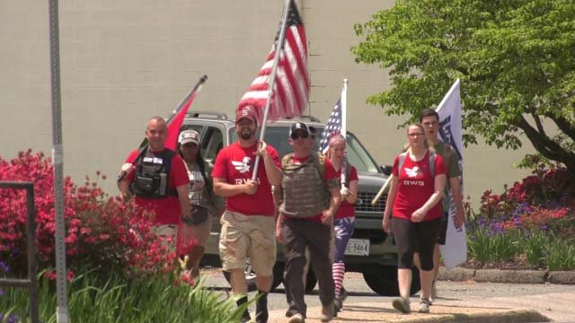 A group is marching through Charlottesville on May 8