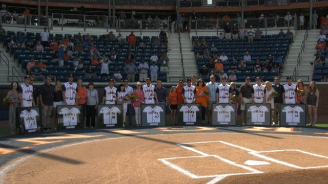 The Cavaliers celebrated their eight seniors before the game