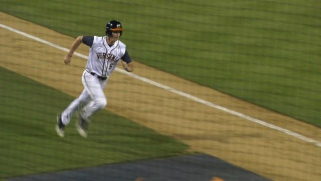 Christian Hlinka scored UVa's first run in the 7th inning