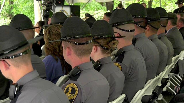 Law enforcement officers attending the memorial