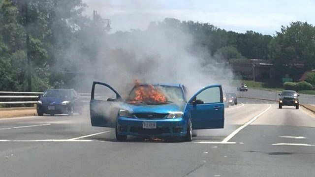 Car fire on Free Bridge in Albemarle County