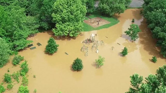Riverview Park flooded (Photo courtesy skyclad aerial)