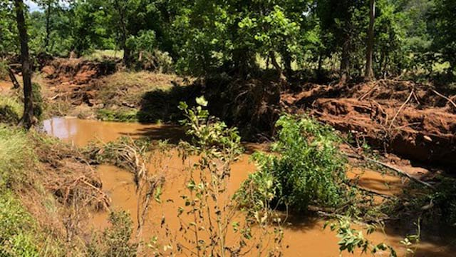 Ivy Creek several days after storms caused flooding in the area (Photo courtesy Albemarle County)