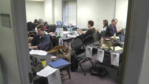 Media workroom in the Levy Opera House