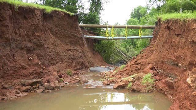 Washed out section of Holkham Drive Extended