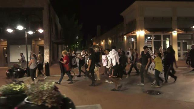 Protesters marched along the Downtown Mall