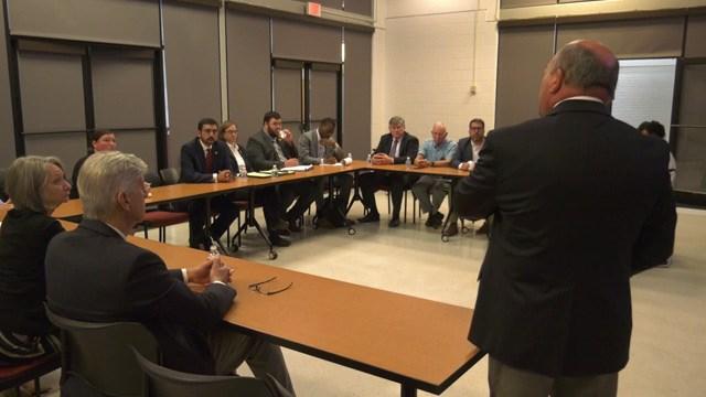 Virginia Secretary of Education Atif Qarni meeting with school leaders in Albemarle Country