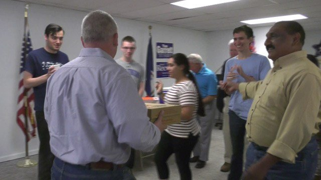 Denver Riggleman meeting with supporters in Albemarle County