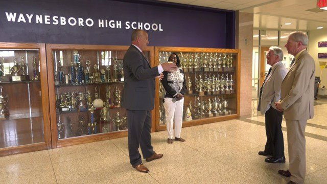 Jeffrey Cassell giving a tour of Waynesboro High School to delegates Dickie Bell and Steve Landes
