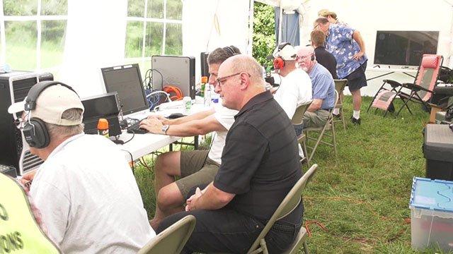 Ham radio operators at Field Day 2018
