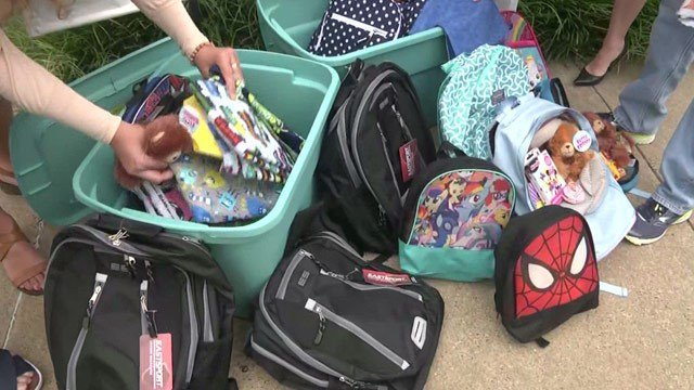Backpacks and supplies are donated at BB&T.