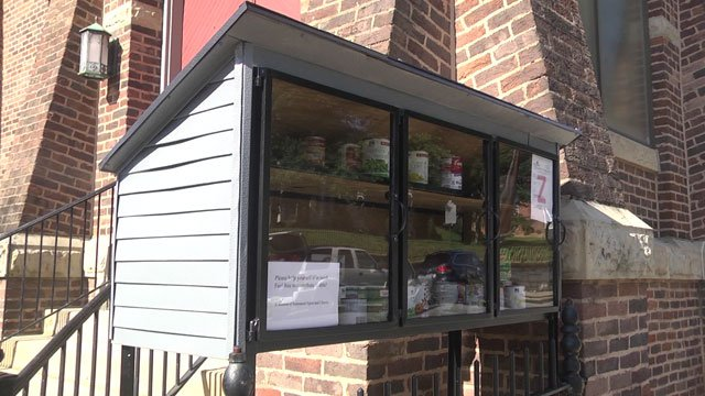 Food pantry outside Emmanuel Episcopal Church