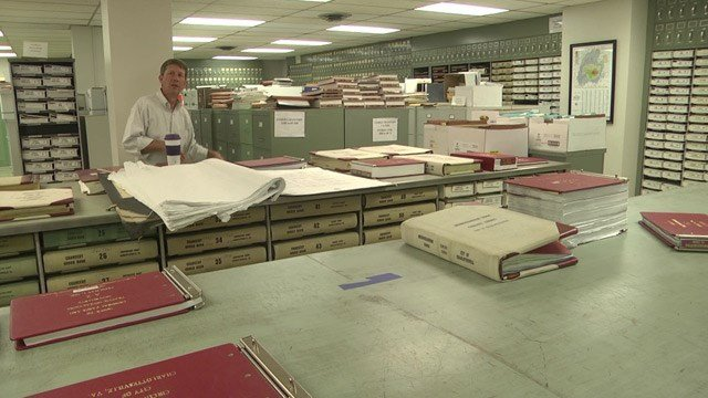 Thousands of court case records kept in the basement of the Charlottesville Circuit Courthouse.